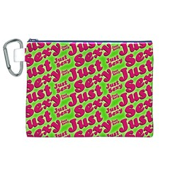 Just Sexy Quote Typographic Pattern Canvas Cosmetic Bag (xl)  by dflcprints