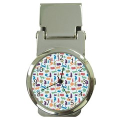 Blue Colorful Cats Silhouettes Pattern Money Clip Watches by Contest580383