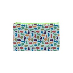 Blue Colorful Cats Silhouettes Pattern Cosmetic Bag (XS) by Contest580383