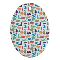 Blue Colorful Cats Silhouettes Pattern Ornament (Oval)  by Contest580383