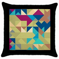 Scattered Pieces In Retro Colors Throw Pillow Case (black) by LalyLauraFLM