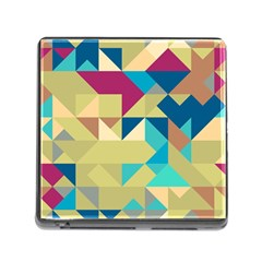 Scattered Pieces In Retro Colors Memory Card Reader (square) by LalyLauraFLM
