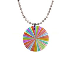 Colorful Beams 1  Button Necklace by LalyLauraFLM