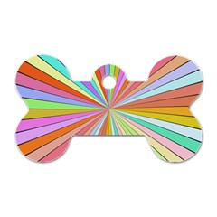 Colorful Beams Dog Tag Bone (two Sides) by LalyLauraFLM