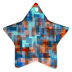 Blue Orange Watercolors Star Ornament (two Sides) by LalyLauraFLM