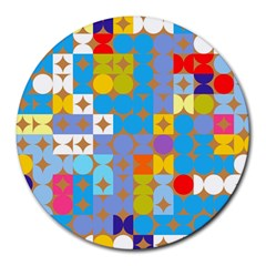 Circles And Rhombus Pattern Round Mousepad by LalyLauraFLM