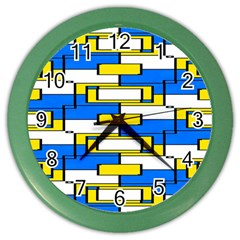 Yellow Blue White Shapes Pattern Color Wall Clock by LalyLauraFLM