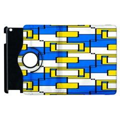 Yellow Blue White Shapes Pattern Apple Ipad 3/4 Flip 360 Case by LalyLauraFLM