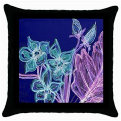Purple, Pink Aqua Flower style Throw Pillow Cases (Black) by Contest1918526