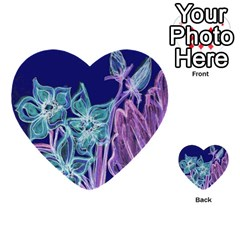 Purple, Pink Aqua Flower Style Multi Purpose Cards (heart)  by Contest1918526