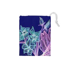 Purple, Pink Aqua Flower Style Drawstring Pouches (small)  by Contest1918526