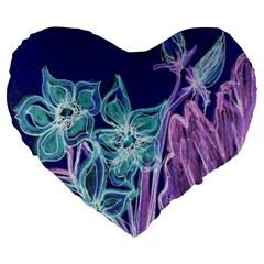 Purple, Pink Aqua Flower Style Large 19  Premium Flano Heart Shape Cushions by Contest1918526