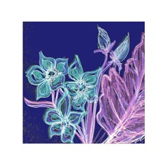 Purple, Pink Aqua Flower Style Small Satin Scarf (square)  by Contest1918526