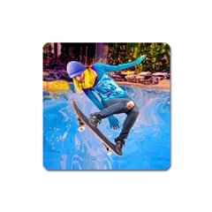 Skateboarding On Water Square Magnet by icarusismartdesigns