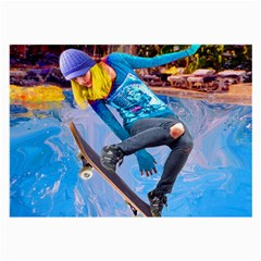 Skateboarding On Water Large Glasses Cloth (2 Side) by icarusismartdesigns