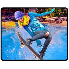 Skateboarding On Water Double Sided Fleece Blanket (medium)  by icarusismartdesigns