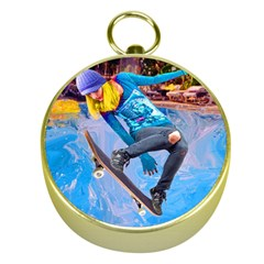 Skateboarding On Water Gold Compasses by icarusismartdesigns