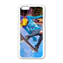 Skateboarding On Water Apple Iphone 6 White Enamel Case by icarusismartdesigns