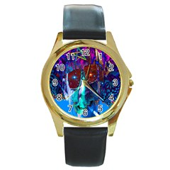 Voyage Of Discovery Round Gold Metal Watches by icarusismartdesigns