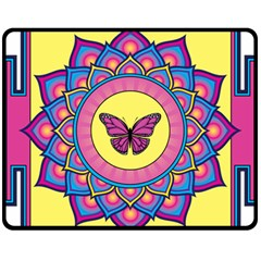 Butterfly Mandala Fleece Blanket (medium)  by GalacticMantra