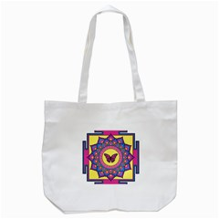 Butterfly Mandala Tote Bag (white)  by GalacticMantra
