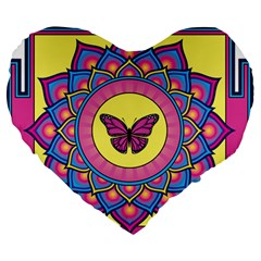 Butterfly Mandala Large 19  Premium Flano Heart Shape Cushions