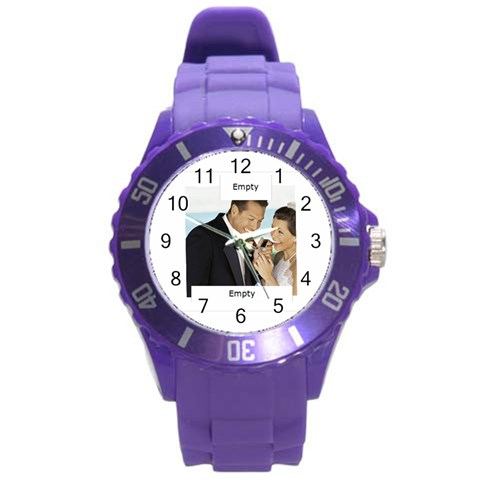Wedding By Wedding   Round Plastic Sport Watch (l)   Whms19in7muv   Www Artscow Com Front