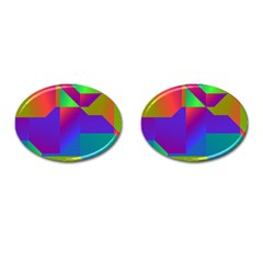 Colorful Gradient Shapes Cufflinks (oval) by LalyLauraFLM