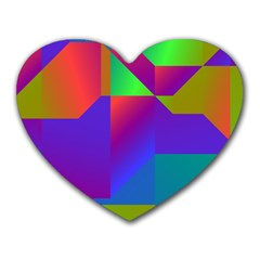 Colorful gradient shapes Heart Mousepad by LalyLauraFLM