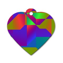 Colorful Gradient Shapes Dog Tag Heart (one Side) by LalyLauraFLM