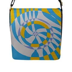 Abstract Flower In Concentric Circles Flap Closure Messenger Bag (l) by LalyLauraFLM