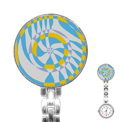 Abstract Flower In Concentric Circles Stainless Steel Nurses Watch by LalyLauraFLM