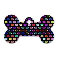 Colorful Round Corner Rectangles Pattern Dog Tag Bone (two Sides) by LalyLauraFLM