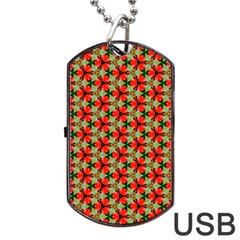 Lovely Trendy Pattern Background Pattern Dog Tag Usb Flash (two Sides)  by creativemom
