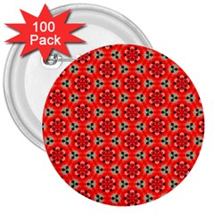 Lovely Orange Trendy Pattern  3  Buttons (100 Pack)  by creativemom