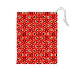 Lovely Orange Trendy Pattern  Drawstring Pouches (large)  by creativemom