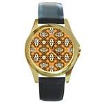 Faux Animal Print Pattern Round Gold Metal Watches