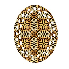 Faux Animal Print Pattern Ornament (oval Filigree)  by creativemom