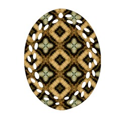 Faux Animal Print Pattern Oval Filigree Ornament (2 Side)  by creativemom