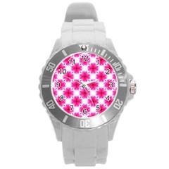 Cute Pretty Elegant Pattern Round Plastic Sport Watch (l) by creativemom