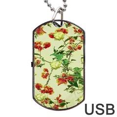 Vintage Style Floral Design Dog Tag USB Flash (One Side) by dflcprints