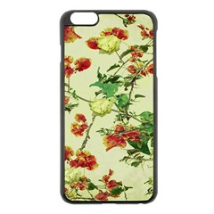 Vintage Style Floral Design Apple Iphone 6 Plus Black Enamel Case by dflcprints