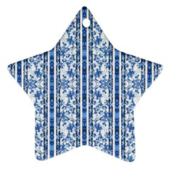 Chinoiserie Striped Floral Print Ornament (star)  by dflcprints