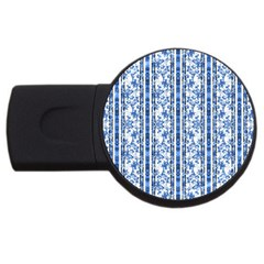 Chinoiserie Striped Floral Print Usb Flash Drive Round (2 Gb)  by dflcprints