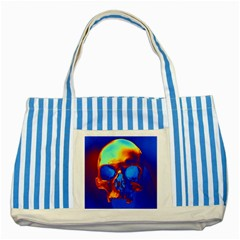 Skull Striped Blue Tote Bag  by icarusismartdesigns