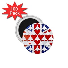 Uk Hearts Flag 1 75  Magnets (100 Pack)  by theimagezone