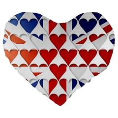 Uk Hearts Flag Large 19  Premium Flano Heart Shape Cushions by theimagezone