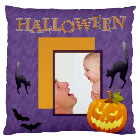 Happy Halloween By Joely   Large Flano Cushion Case (one Side)   Mrbsctik2dyl   Www Artscow Com Front