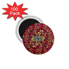 Oriental Floral Print 1 75  Magnets (100 Pack)  by dflcprints