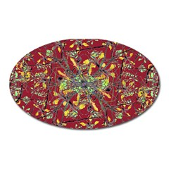 Oriental Floral Print Oval Magnet by dflcprints